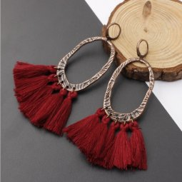 A-SD-XL0205mar Maroon Tassel Oval Vintage Huggy Earrings Shop