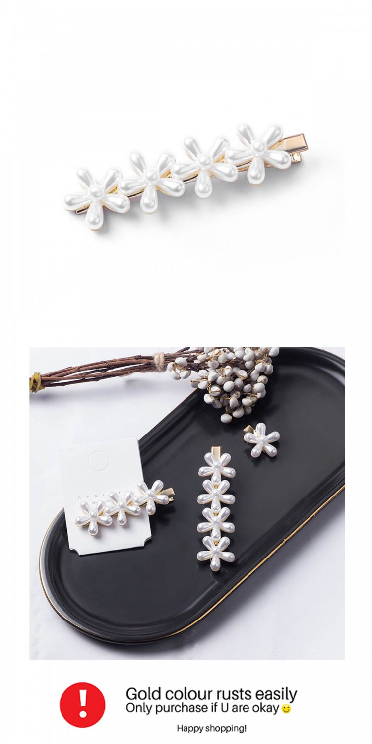 A-MDD-4FLOWER Elegant Cute White Flowers Korean Style Hairpins