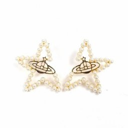 A-SD-ER0732 Gold White Star Universal World Design Earstuds