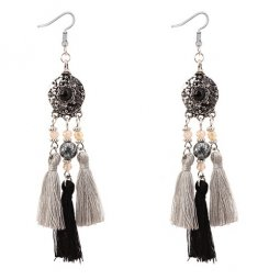 P128815 Black Grey Dangling Beads Tassel Hook Earrings