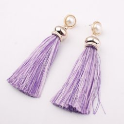 A-SD-EH017pur Purple White Tassel Earstuds with White Bead