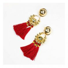 A-FX-E6396Mar Maroon Tassel Bulk Circle Gold Dangling Earrings