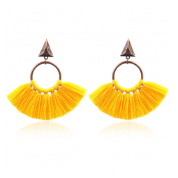 A-HH-HQEF1218yellow Yellow Classic Tassel Triangle & Hoop Earstu