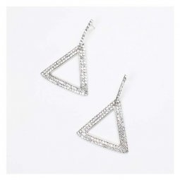 A-FX-E6710 Triangle Shape Crystal Studded Korean Statement Earri
