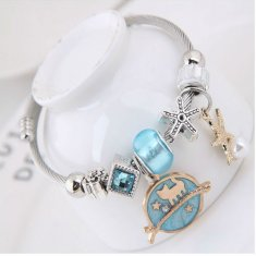 C0150712234 Sky Blue Cat Charm White Bead Silver Bracelet Shop