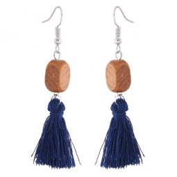 C11043189 Navy Blue Bohemian Wooden Silver Hook Earrings