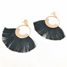 A-SD-ER0358- Gold Classic Big Circle Black Earstuds Earring