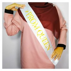 A-HP-promqueen(w) White Prom Queen Gold Wording Party Sashes