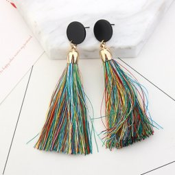 P126908 Colourful Dangling Gold Round Charm Tassel Earstuds