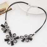 C110509134 Black crystals flower choker necklace accessories