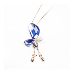 A-ZT-NL223-01 Golden Blue Crystal Butterfly Long Neckalce