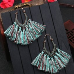 A-HH-HQEF1068blue Blue Mix Tassels Oval Curve Hook Earrings