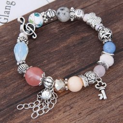 C101127274 Silver Mix Colourful Funky Cute Beads Bracelet Shop