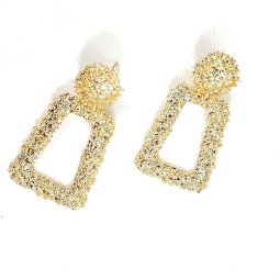 A-FX-UK01- Gold Style Circle Square Earrings