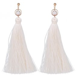 P133686 Cream Coloured Tassel With Pearl White Beam Earstuds