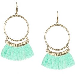 A-KJ-E020336g Mint Green Round Gold Tassel Hook Earrings
