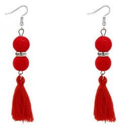 P128064 Red Rounnd Elegant Dinner Tassel Hook Earrings