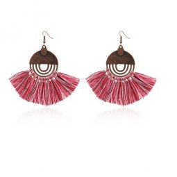 A-HH-HQEF-258 red circle hook tassel earring malaysia