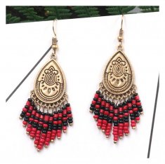 A-HH-HQEF1249 Classic Gold Red Black Dangling Beads Earrings