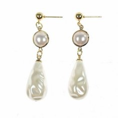 B-MSY-333E1 White Pearl Gold Earrings Malaysia Korean