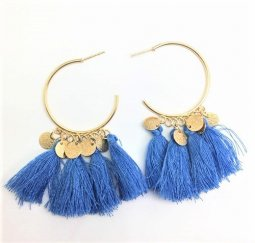 A-SD-EH0218BLUE Blue Gold Round Charms Tassel Earstuds Wholesale