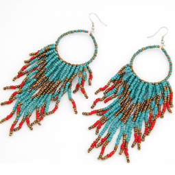 C11032381 Bohemian beads oval dangling hook earrings malaysia