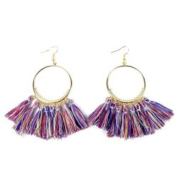 A-SD-SL218-1 Colourful Modern Circle Gold Hook Earrings