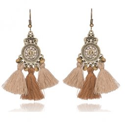 A-KJ-E020294bro Brown Beige Vintage Round Tassel Earrings