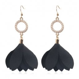 A-HH-HQEF1051black Black Tulip Petals Circle Pearls Earrings