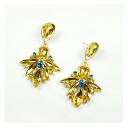 A-CJ-CZ8070 Golden & Yellow Goddess Theme Sparkly Earstuds