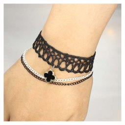 A-Tattoo-011 Flower Charm Lace Choker Bracelet With Two Chains