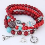 C0150628205 Maroon Red Elastic Charm Bracelet with Eiffel Tower