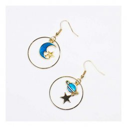 A-LG-ER0369globe Korean Ring Blue Galaxy Hook Earrings