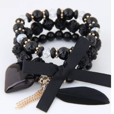 C110414128 Black Elastic Heart Charms Rose Feather Bracelet