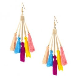 A-KJ-E020379 Colourful Elegant Dinner Tassel Hook Earrings