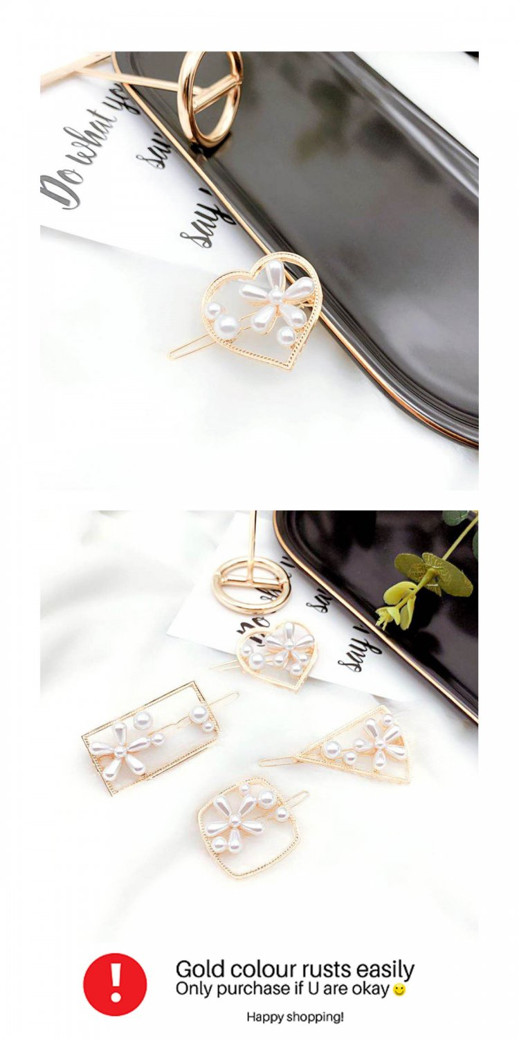 A-MDD-PHEART Korean Gold Heart With White Flowers Trendy Hairpin