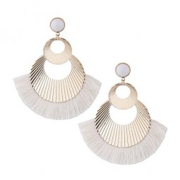 C090621162 Light Grey Spread Tassels Huge Gold Rounds Bead Ears