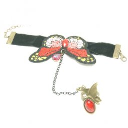 A-CJ-6086 Red Butterfly Dinner Bracelet Linked Ring Accessories