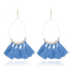 A-CD-ER-196blue Blue Oval Bohemian Blue Tassel Hook Earrings
