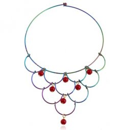 A-SJQ-J107 Colourful Geometry Bead Choker Statement Necklace