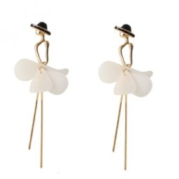 A-MLSF- 444E1 Gold White Ballerina Petals Black Hat Earstuds AFS