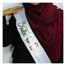 A-SH-007 White Bride To Be Wording In Metallic Gold Party Sashes