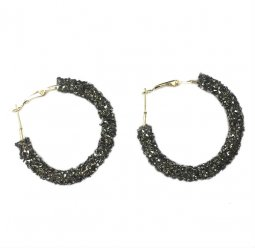 A-QD-SKU5628GR Grey Crystal Round Hoop Korean Inspired Earstuds