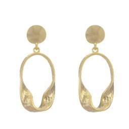 A-TT-56GOLD Golden Uneven Oval Shapes Simple Korean Earstuds
