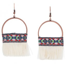 A-KJ-E020952whi White Bohemian Moon Tassel Hook Earrings