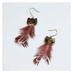 A-HH-HQEF1884owl Feather Dusty Purple Owl Inspired Earrings