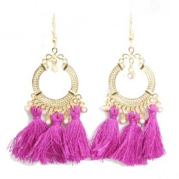 A-SD-Purple Purple Round Beads Tassel Hook Earrings Wholesale