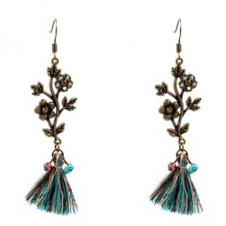 A-HH-HQET-225 Vintage Flower Turquoise Tassel Hook Earrings