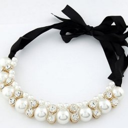 A-Q-Q8107 Ribbon white bead crystals dinner statement necklace