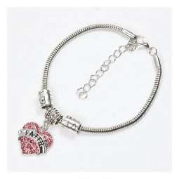 A-BK-005 Amare Faith Engraved Pink Heart Shaped Charm Bracelet